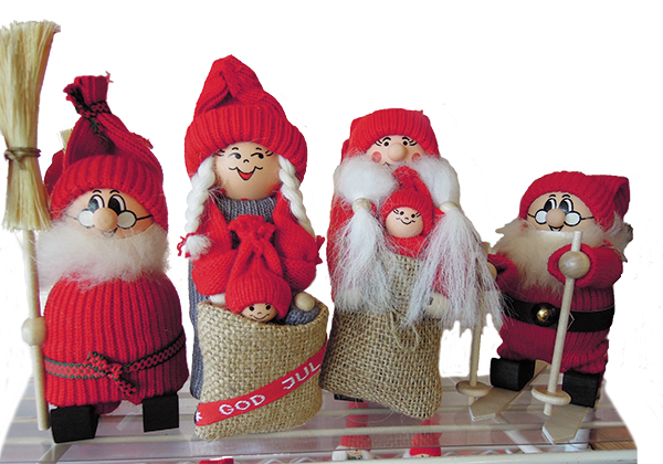 Christmas gnomes are popular in every Scandinavian country. Folklore has it that these mischievous sprites protect the home and farm and, in return, expect only a bowl of porridge with butter on Christmas Eve.