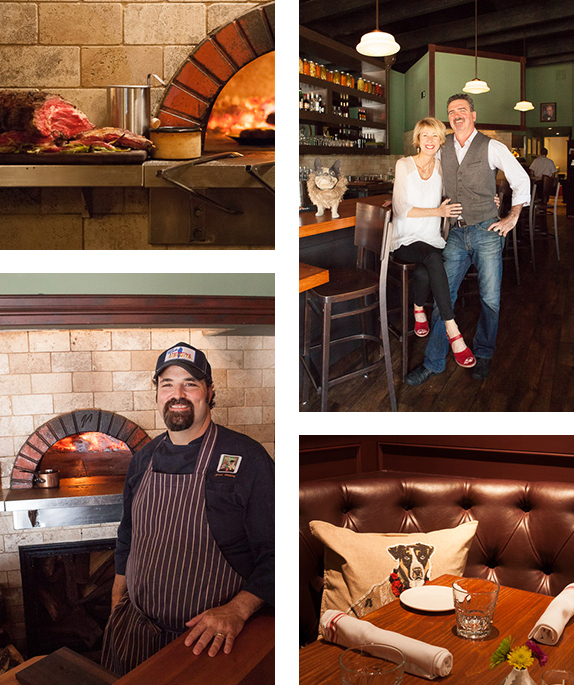 """Clockwise from top left: A Sunday roast (always served with roasted vegetables, """"Royal Yorkie,"""" horseradish, and claret sauce) emerges from the almond-wood flames; Shelly and Seamus Mulhall relax for a brief moment at the bar; Dog-decorated pillows and many other items around the pub were handcrafted by the Mulhall's relatives; Chef Brian Ventura takes a break to smile for his wife's camera."""