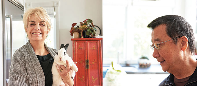 """Left: Doudou (Little Bean) lives in the pantry with her brother bunny Mantou (which means """"steamed bun""""). They inspire Carolyn in her dumpling making, as does Carolyn's husband J.H. Huang (above), a devotee of good cooking, whose prodigious memory for food experiences he had growing up in China has informed Carolyn's research."""