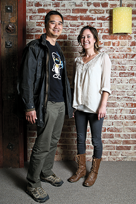 Bay Bucks founders Chong Kee Tan and Kendra Shanley convene at the co-working space Impact Hub Oakland.