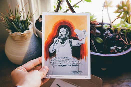 Blue Heart's October art print is by Oakland artist Tiffany Eng. Photo by Loren Baxter.