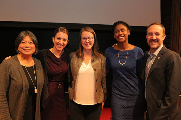 At Berkeley's David Brower Center, an expert panel discussed the new food purchasing policy adopted by the San Francisco and Oakland school districts. Left to right: Commissioner Sandra Lee Fewer of the SF Board of Education; panel moderator and author Anna Lappe; Alexandra Emmott, OUSD farm to school supervisor; Shakirah Simley, community programs manager for Bi-Rite; and Doug Bloch, political director at Teamsters Joint Council 7.