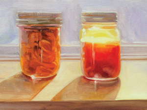 Carrots and Tomato Juice painting by J.R. Nelson