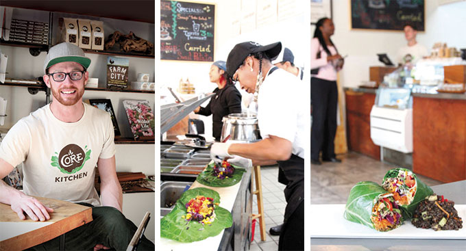 Above, left to right: Corey Rennell, founder of CORE Foods; Marvaleen Russell assembles a Southwest Collard Wrap.