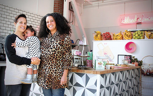 Rana Halpern (left) and Emanne Desouky, pictured with their daughter Naya, started Super Juiced when they couldn't find organic smoothies and other healthy to-go foods in Oakland.