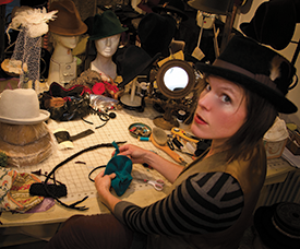 O'Lover Hats milliner Elwyn Carter at her her work table (Photo by Tara Layman)