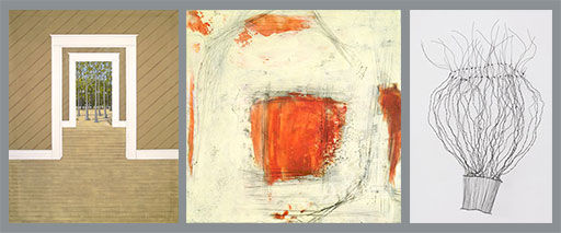 """Left: On exhibit this year by Frank Cole: """"Heart Pine (if You Ask Me),"""" 2015, acrylic on canvas drop cloth, 106""""x69"""" Center: Trudihope Schlomowitz: """"Road Taken,"""" 2015, encaustic and oil on wood panel, 20""""x20""""x1.75""""  Right: Mari Andrews: """"Wild Hair,"""" 2014, wire, 26""""x17""""x 8"""