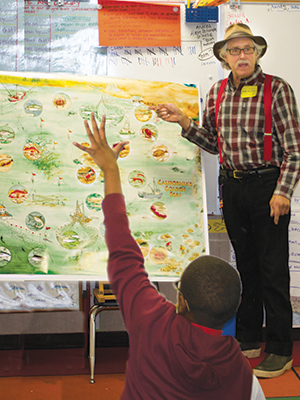 Local commercial fisherman Ernie Koepf explains the different seafood species caught in California waters to students at East Oakland Pride Elementary School. (Photo courtesy of Bay2Tray)