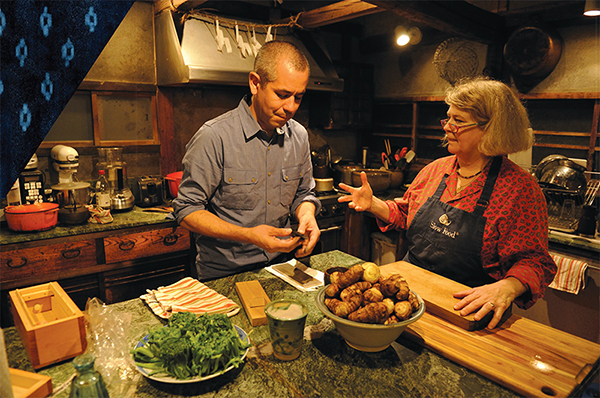 Sylvan Brackett cooking with Nancy Singleton Hachisu at her farmhouse kitchen in Japan,