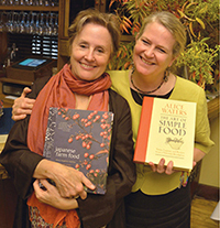 Alice Waters and Nancy Singleton Hachisu trading books at the sold-out dinner event Chez Panisse hosted to celebrate the publication of Japanese Farm Food (Photo courtesy of Nancy Singleton Hachisu)