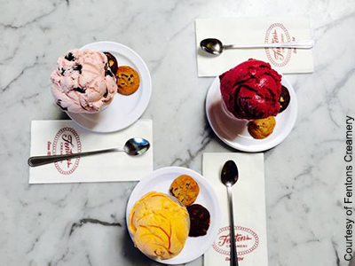 Refreshing summer flavors like Bing cherry, mango, and pomegranate are favorites at Fentons Creamery.