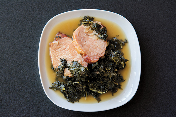 Green kale with smoked pork is traditionally served at the Kale Festival in Germany. (Photo by Suzanna Mannion)