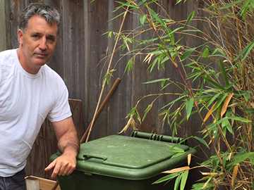 Chris Lynch is putting the Hungry Bin to work in his Oakland garden.