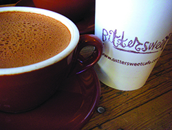 An enticing cup of buttery sweet Salted Caramel hot chocolate at the Bittersweet Café