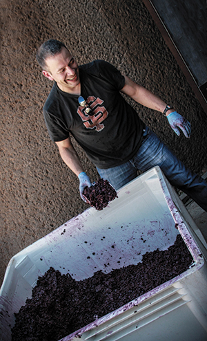 Blaine Landberg sourcing zinfandel pomace from Dry Creek Valley. Photos by Thomas Dang Vo, courtesy of Calicraft