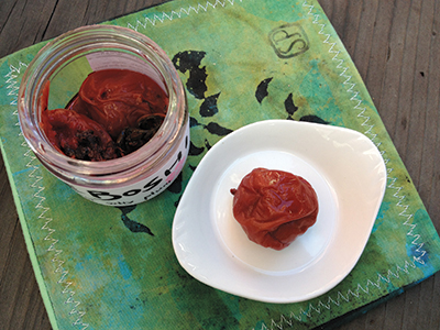 One of Iino's succulent pickled plums, ready to eat!