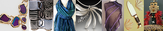 Work by featured artists pictured above (left to right): Karen Brown (jewelry), Eileen Goldenberg (ceramics), Susan Eastman (wearables), Theresa Kwong (jewelry), Katharina Ernst (wearables), Karl Schroen (mixed media), and Fritzie Seidler (mixed media). Photos courtesy of Karin Conn.