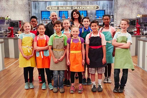 Oakland native Yahshimabet Sellassie-Hall (middle row, far right) is one of the talented young chefs competing in the Kids Baking Championship. Photo courtesy of the Food Network & Cooking Channel.