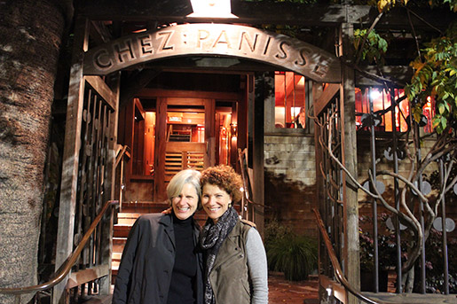 Author and chef Joanne Weir (right) at Chez Panisse with Edible East Bay writer and contributing editor Kristina Sepetys. Photo: Yasemin Sussman.