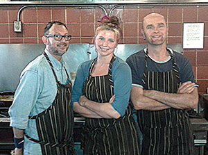 Local Flavor partners (left to right) Ricardo Simon, Kate Sassoon, and Marc Swan work their magic at San Francisco's Eclectic Cookery (Photo courtesy of Jose Hernandez)