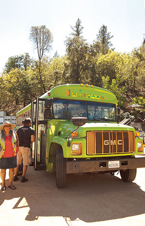 All aboard! The Council chartered the colorfully decorated Mexican Bus, out of San Francisco. The converted vintage school bus added a little funk to the trip. With designated driver Rubén at the wheel, the group was free to party and make toasts—and let's just say they did!