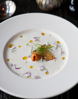 An elegant white gazpacho from the Duende kitchen