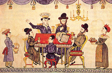 Jews Celebrating Passover. This Ukrainian 19th-century lubok representing the Seder table is by an anonymous folk artist - https://en.wikipedia.org/wiki/Passover_Seder https://tapirr.narod.ru/art/j/jud/tora_illustr.htm