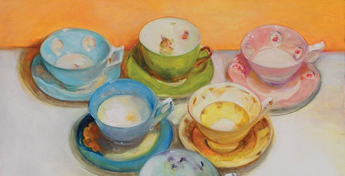 """Detail from """"Teacup Collection No. 1,"""" oil on canvas by J.R. Nelson"""