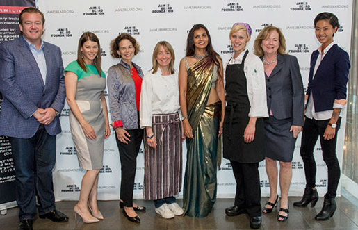 From left to right: Michael White, Gail Simmons, Dana Cowin, Emily Luchetti, Rohini Dey, 2013 Women In Culinary Leadership grantee Eliza Martin, James Beard Foundation president Susan Ungaro, and Kristen Kish.