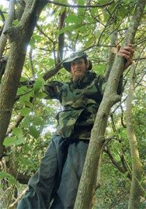 Bruce Beernink enjoys a climb among the boughs of an avocado grove.