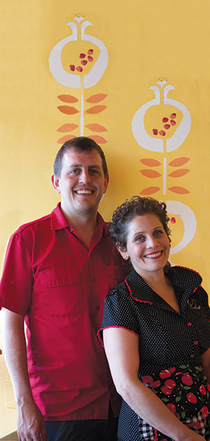 "Robert Gott and Mica Talmor-Gott found the name for their restaurant, Ba-Bite, in the Hebrew word Ba'bayit, which means ""at home."" They're serving food that Talmor would eat both at home in Oakland, as well as in Israel, her native country."