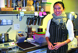 Arcelia Gallardo, co-owner of Casa de Chocolates readies her ingredients for spicy hot chocolate.