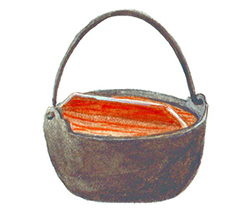 The heavy-duty cast iron Yamaga Nabe is perfect for cooking and serving soups or noodles. Commonly used in Japan for dishes such as nabeyaki udon.