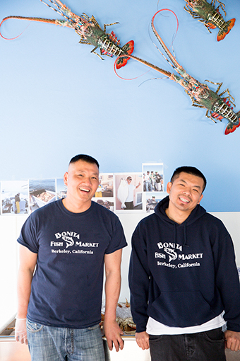 Phat Vo (left) and Hung Nguyen at their new fish shop in Berkeley
