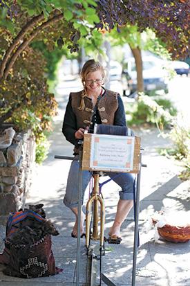 Katharine Jolda on her Cyclocarder.