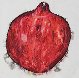 Above: Pomegranate Expression (watercolor and India ink on canvas) by Margo Rivera-Weiss