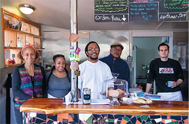 Crossroads Café collective members (left to right) Michele Elizabeth Lee, Aminah Bell, Martin Ward, Leon Dockery, and Keawe Aquarian.