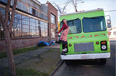 Gail Lillian and her Liba Falafel food truck visiting the yet-to-open Berkeley Kitchens.