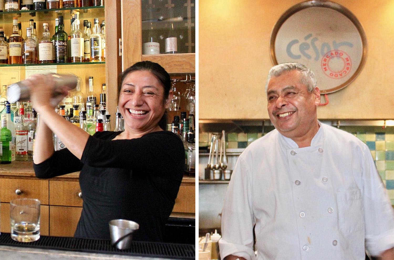 Left: Lola Luna (server), Right: Moises Rojas (executive chef)