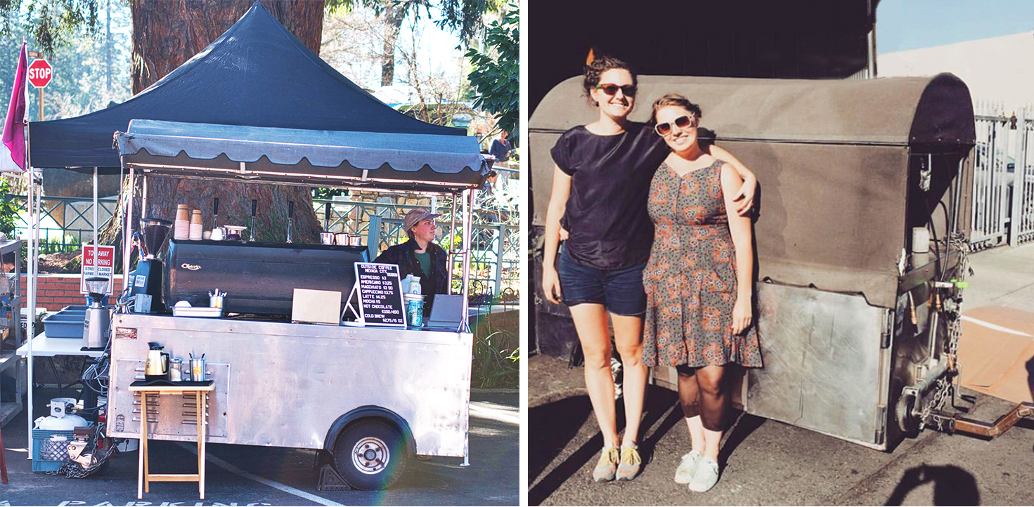 Right: Ruthie gets Nevada City Farmers' Market customers revved up with Outside Coffee  in 2017 and 2018. Left: Cate Maxon (left) passes the cart to Ruthie Knudsen in 2016.